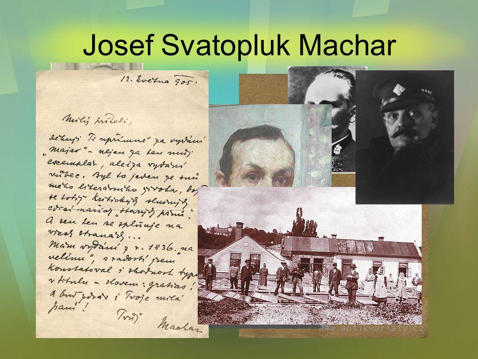 Josef Svatopluk Machar Další dílo Zimní sonety (1892) Magdaléna (1894) Boží bojovníci (1897) Stará próza (1902) Vteřiny (1905) Řím (1907) Katolické po