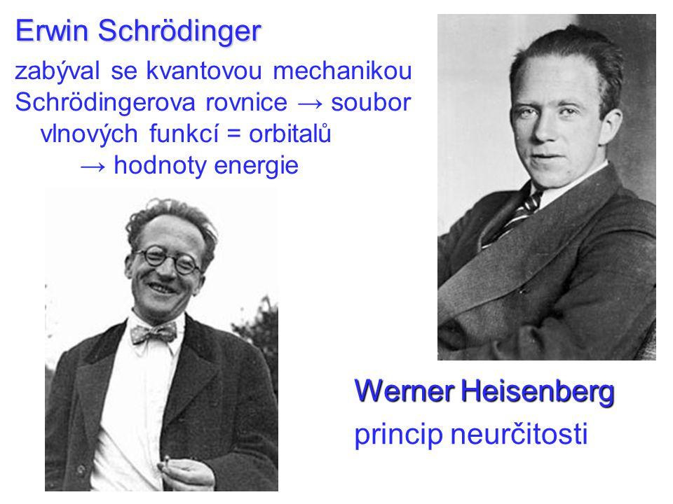 Erwin Schrödinger zabýval se kvantovou mechanikou Schrödingerova rovnice → soubor vlnových funkcí = orbitalů → hodnoty energie Werner Heisenberg princip neurčitosti
