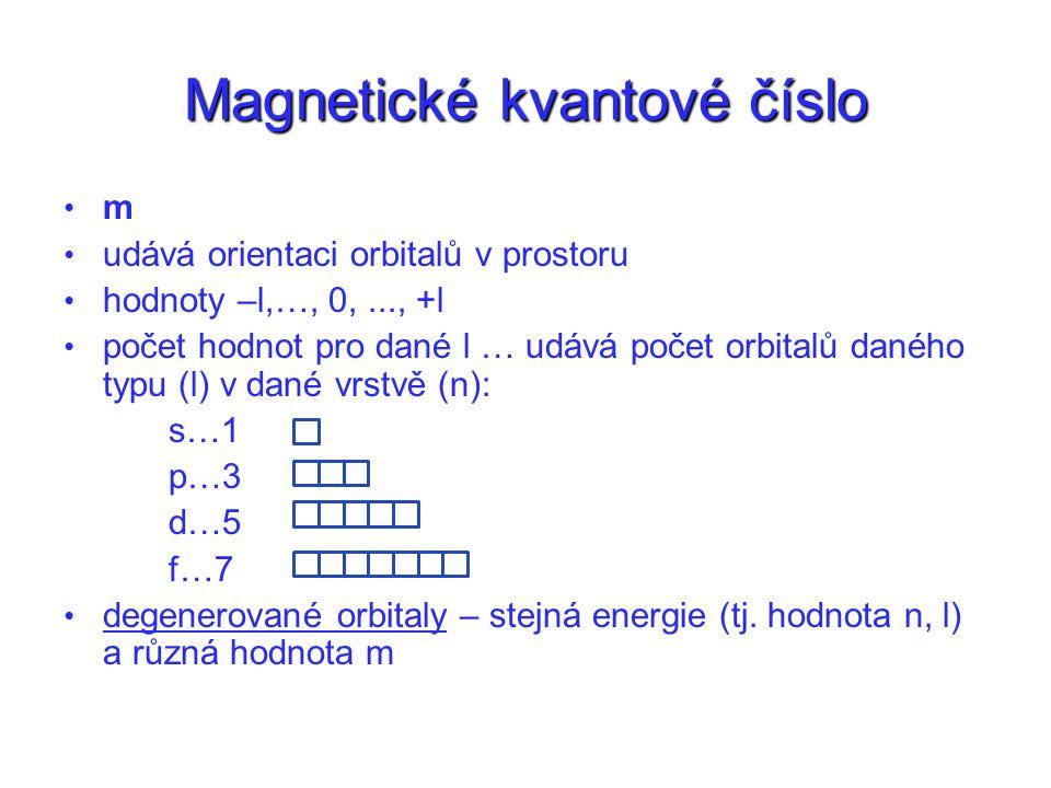 Magnetické kvantové číslo m udává orientaci orbitalů v prostoru hodnoty –l,…, 0,..., +l počet hodnot pro dané l … udává počet orbitalů daného typu (l) v dané vrstvě (n): s…1 p…3 d…5 f…7 degenerované orbitaly – stejná energie (tj.