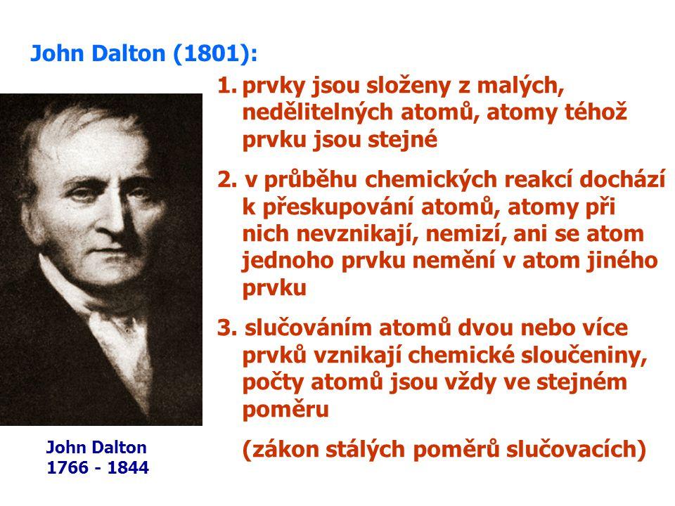 1.prvky jsou složeny z malých, nedělitelných atomů, atomy téhož prvku jsou stejné 2.