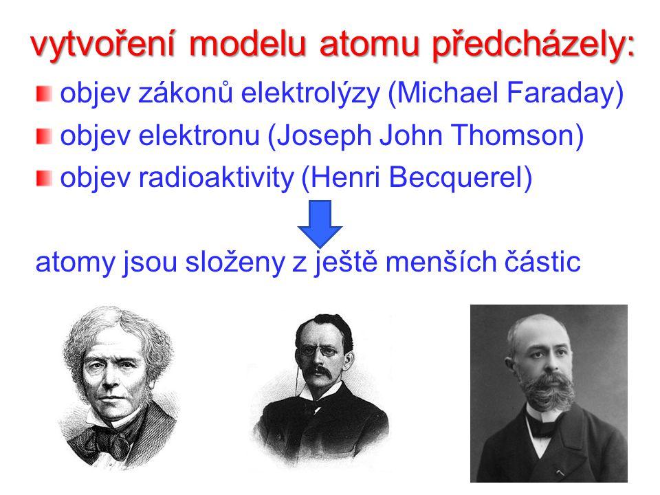 vytvoření modelu atomu předcházely: objev zákonů elektrolýzy (Michael Faraday) objev elektronu (Joseph John Thomson) objev radioaktivity (Henri Becquerel) atomy jsou složeny z ještě menších částic