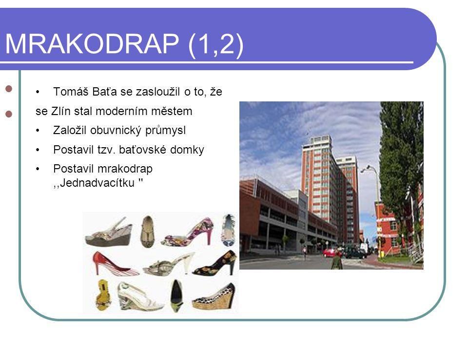 MRAKODRAP (1,2) ZTtomáš Ba´ta se zasloužil, že se Zlín stal velmi moderním městem Tomáš Baťa se zasloužil o to, že se Zlín stal moderním městem Založil obuvnický průmysl Postavil tzv.