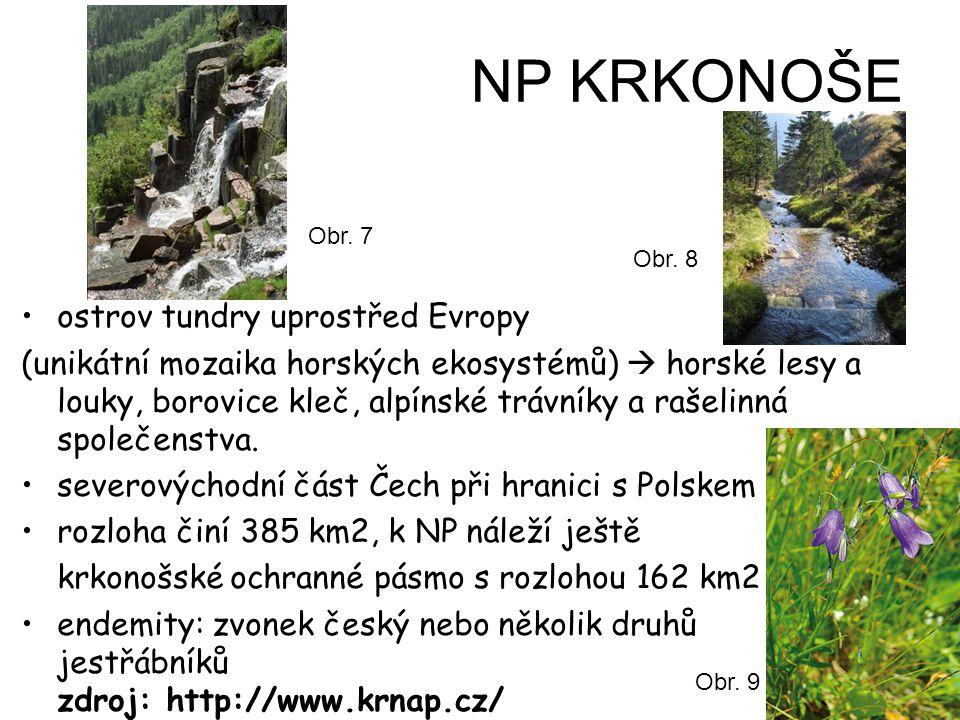NP KRKONOŠE ostrov tundry uprostřed Evropy (unikátní mozaika horských ekosystémů)  horské lesy a louky, borovice kleč, alpínské trávníky a rašelinná