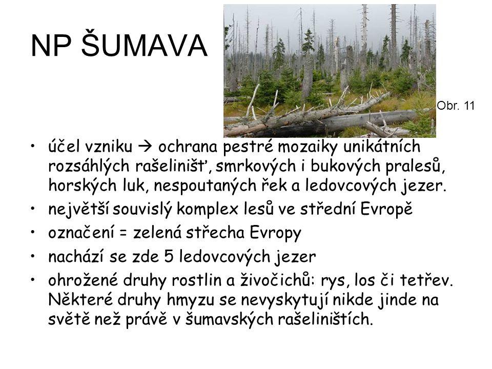 NP ŠUMAVA účel vzniku  ochrana pestré mozaiky unikátních rozsáhlých rašelinišť, smrkových i bukových pralesů, horských luk, nespoutaných řek a ledovc