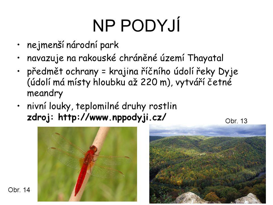 NP PODYJÍ nejmenší národní park navazuje na rakouské chráněné území Thayatal předmět ochrany = krajina říčního údolí řeky Dyje (údolí má místy hloubku