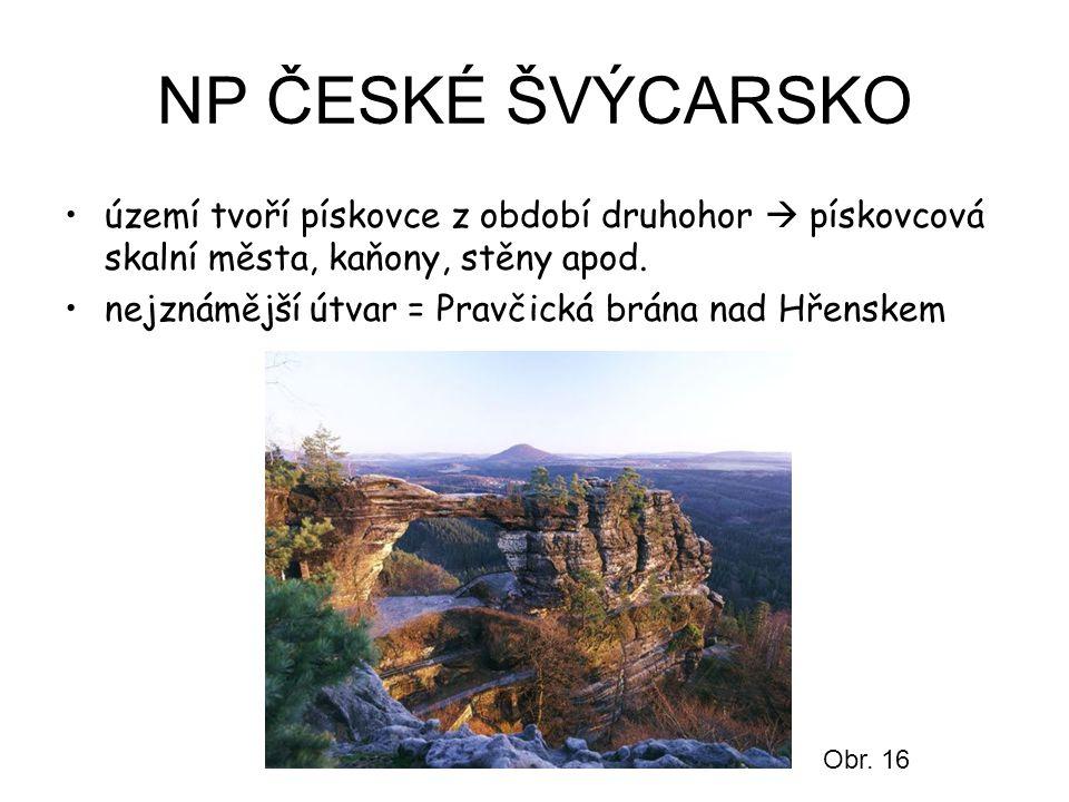 NP ČESKÉ ŠVÝCARSKO území tvoří pískovce z období druhohor  pískovcová skalní města, kaňony, stěny apod. nejznámější útvar = Pravčická brána nad Hřens
