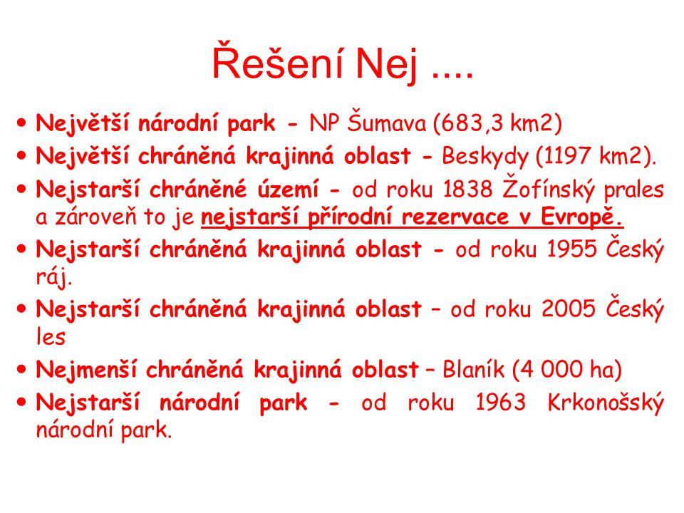 Řešení Nej.... Největší národní park - NP Šumava (683,3 km2) Největší chráněná krajinná oblast - Beskydy (1197 km2). Nejstarší chráněné území - od rok