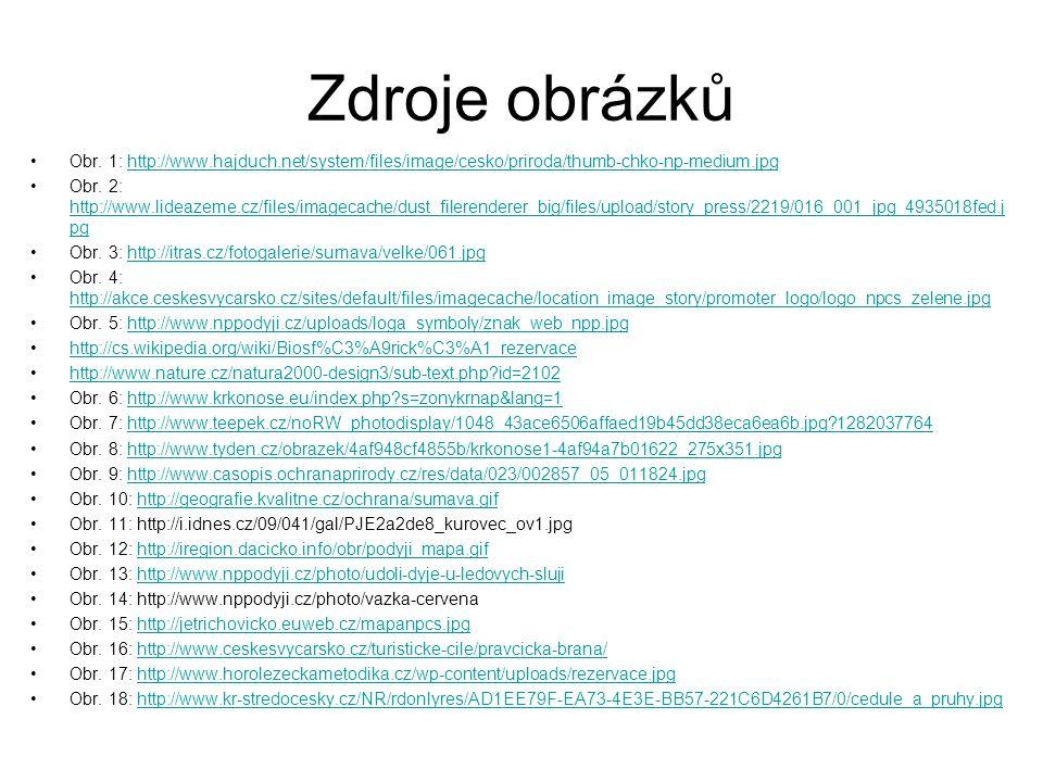 Zdroje obrázků Obr. 1: http://www.hajduch.net/system/files/image/cesko/priroda/thumb-chko-np-medium.jpghttp://www.hajduch.net/system/files/image/cesko