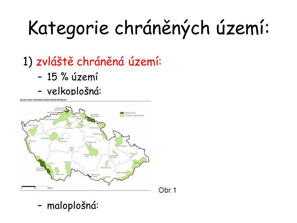 Kategorie chráněných území: 1) zvláště chráněná území: –15 % území –velkoplošná: –maloplošná: Obr.1