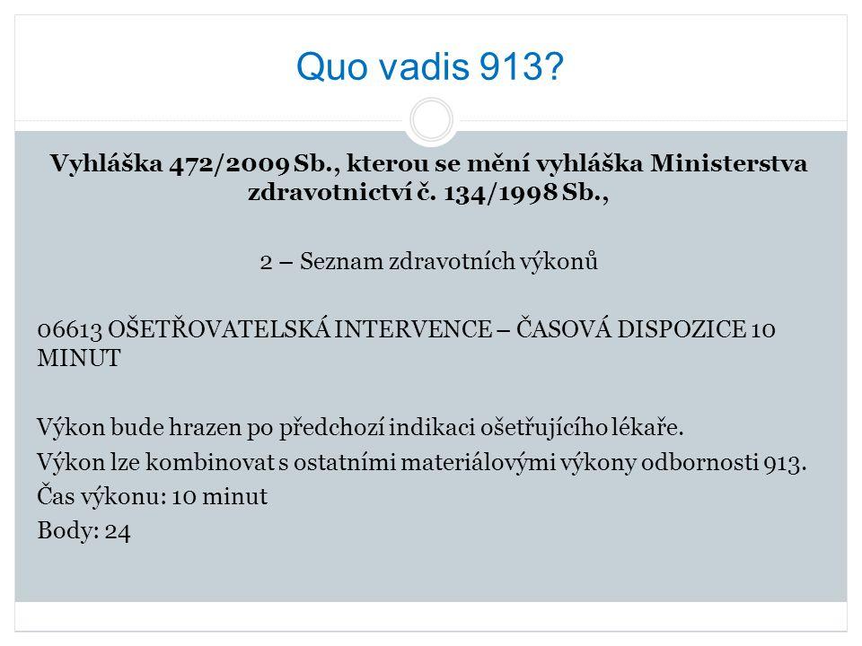 Quo vadis 913? Vyhláška 472/2009 Sb., kterou se mění vyhláška Ministerstva zdravotnictví č. 134/1998 Sb., 2 – Seznam zdravotních výkonů 06613 OŠETŘOVA