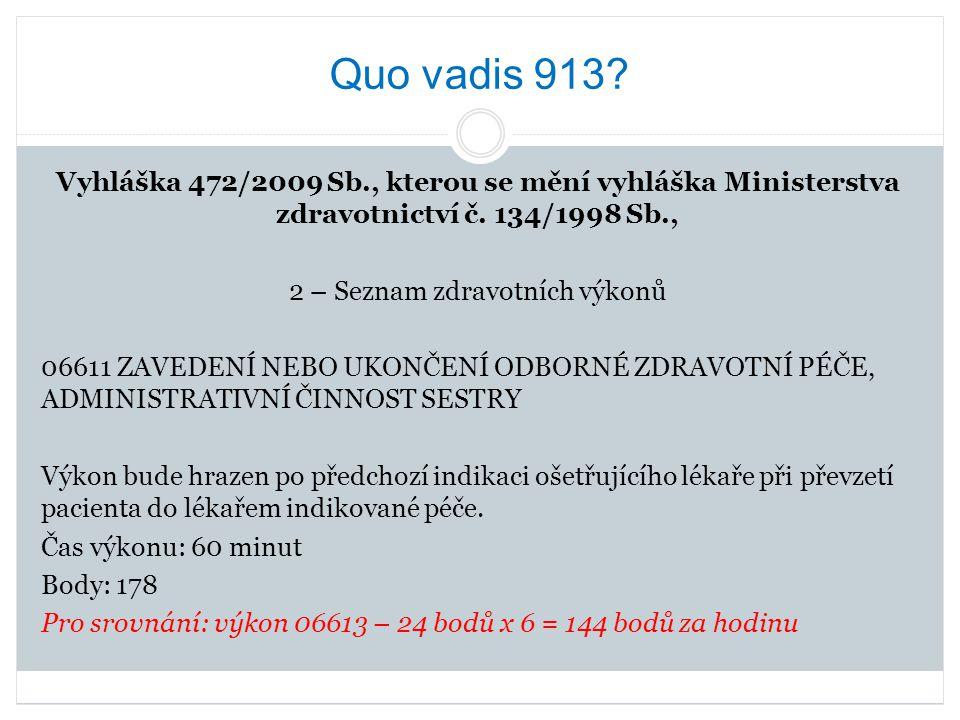 Quo vadis 913? Vyhláška 472/2009 Sb., kterou se mění vyhláška Ministerstva zdravotnictví č. 134/1998 Sb., 2 – Seznam zdravotních výkonů 06611 ZAVEDENÍ