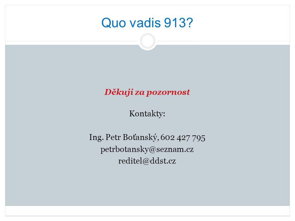Quo vadis 913? Děkuji za pozornost Kontakty: Ing. Petr Boťanský, 602 427 795 petrbotansky@seznam.cz reditel@ddst.cz