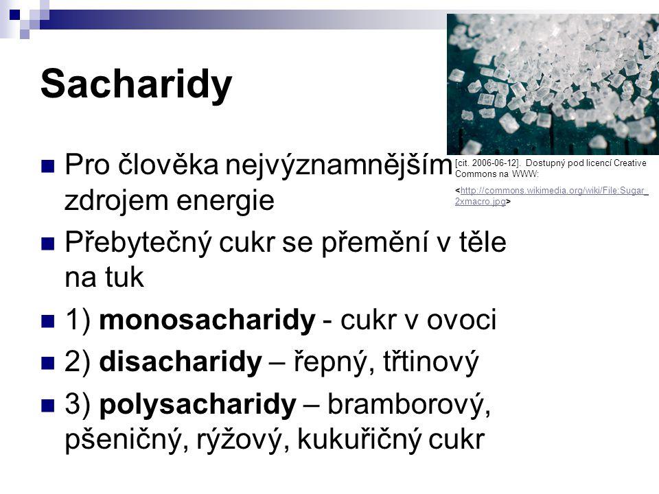 Sacharidy Pro člověka nejvýznamnějším zdrojem energie Přebytečný cukr se přemění v těle na tuk 1) monosacharidy - cukr v ovoci 2) disacharidy – řepný,
