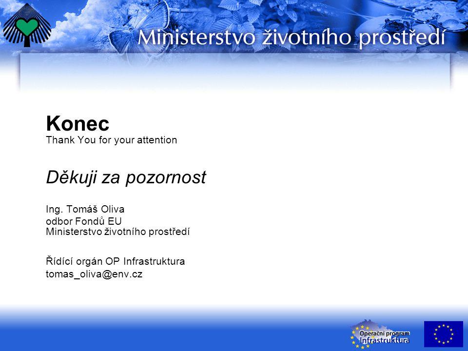 Konec Thank You for your attention Děkuji za pozornost Ing. Tomáš Oliva odbor Fondů EU Ministerstvo životního prostředí Řídící orgán OP Infrastruktura
