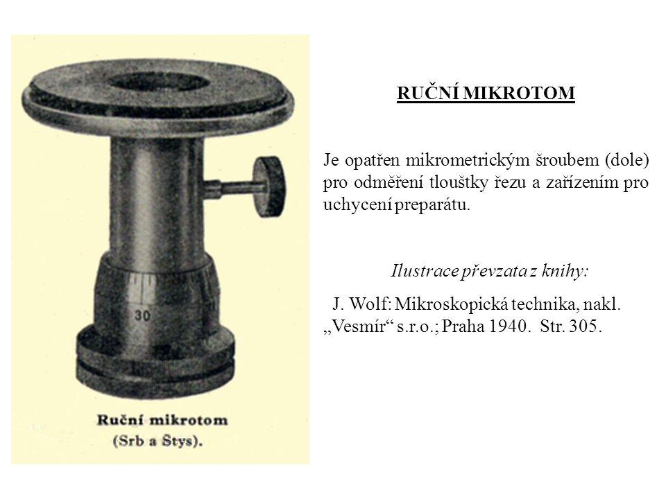 RUČNÍ MIKROTOM Je opatřen mikrometrickým šroubem (dole) pro odměření tlouštky řezu a zařízením pro uchycení preparátu.