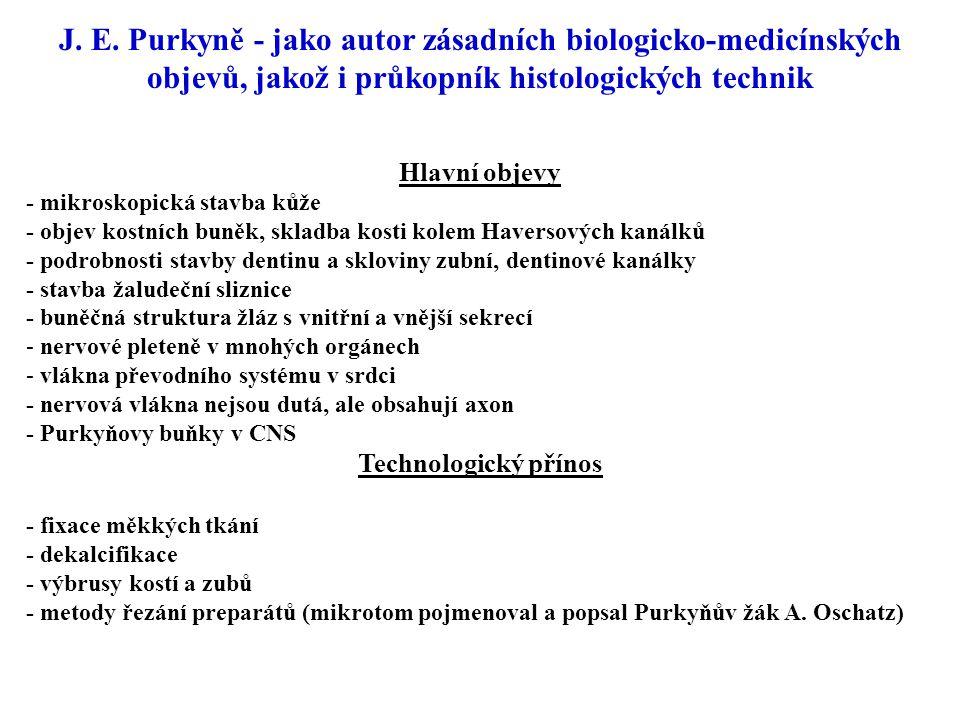 J. E. Purkyně - jako autor zásadních biologicko-medicínských objevů, jakož i průkopník histologických technik Hlavní objevy - mikroskopická stavba kůž