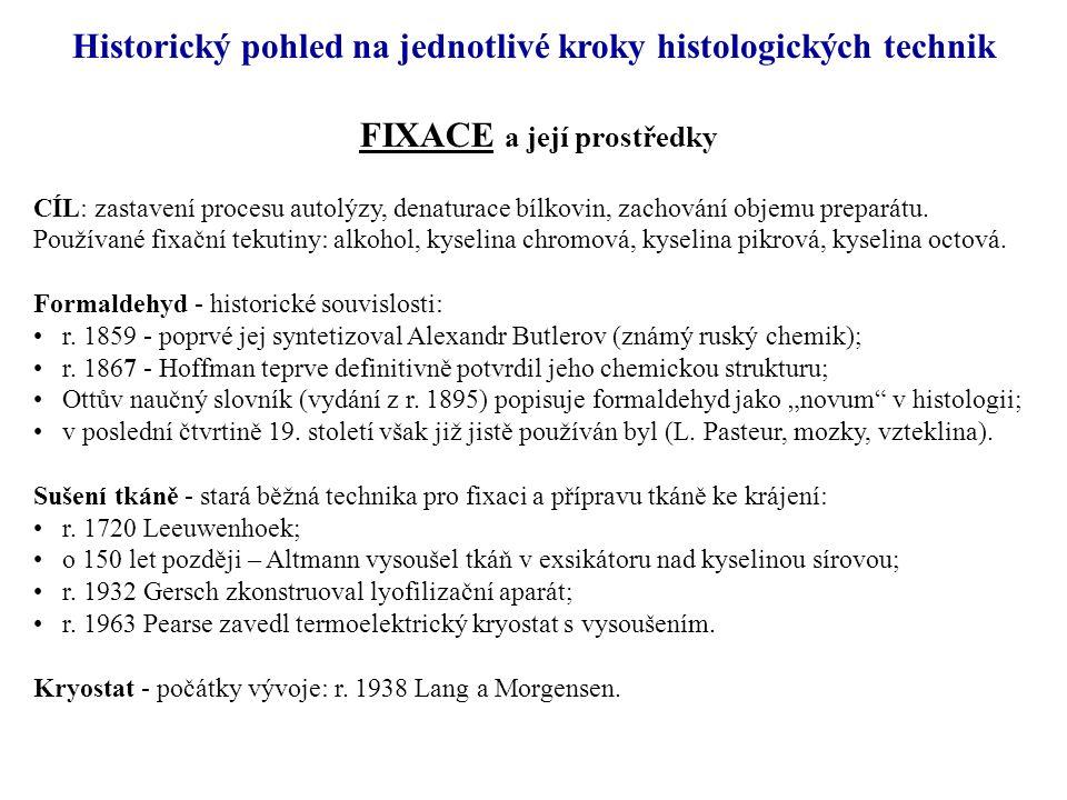 FIXACE a její prostředky CÍL: zastavení procesu autolýzy, denaturace bílkovin, zachování objemu preparátu.