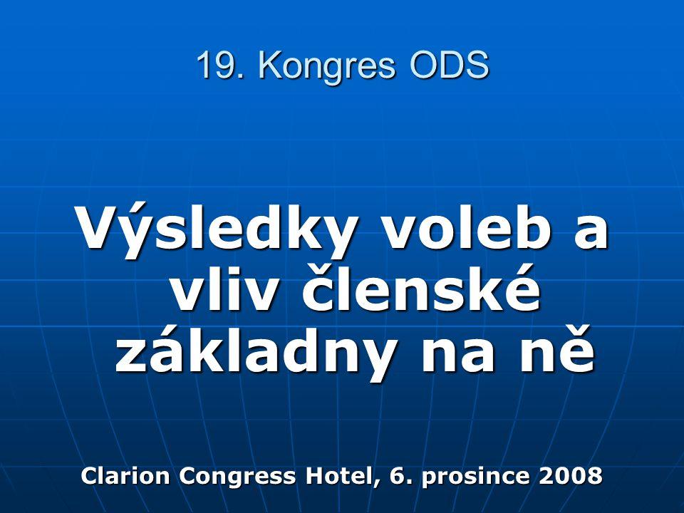 19. Kongres ODS Výsledky voleb a vliv členské základny na ně Clarion Congress Hotel, 6.