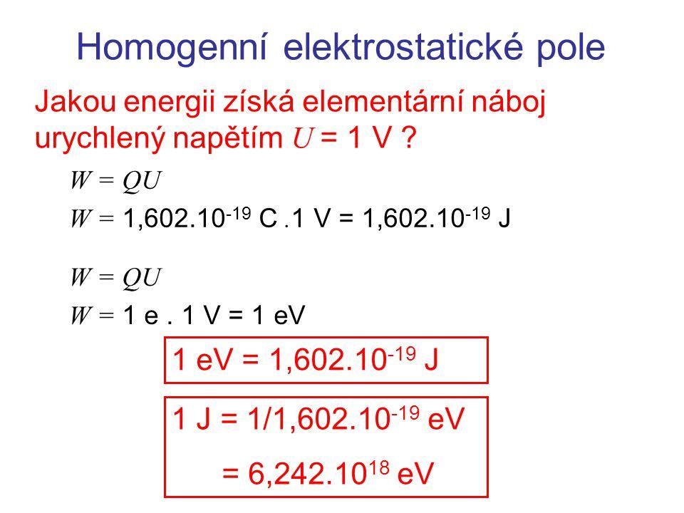 Homogenní elektrostatické pole Jakou energii získá elementární náboj urychlený napětím U = 1 V ? W = QU W = 1,602.10 -19 C. 1 V = 1,602.10 -19 J W = Q