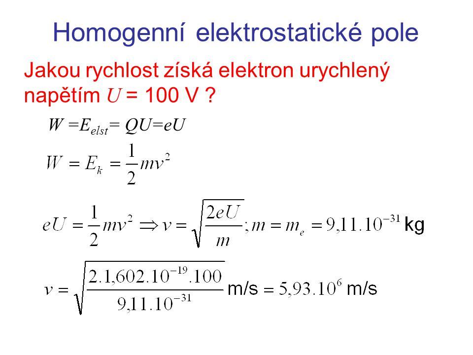 Homogenní elektrostatické pole Jakou rychlost získá elektron urychlený napětím U = 100 V .