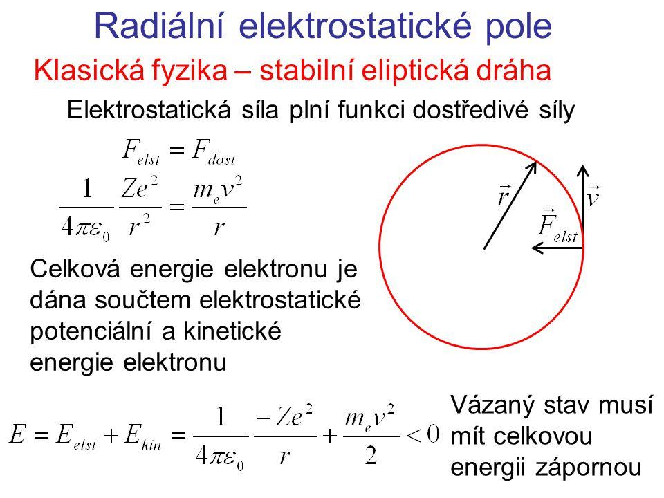 Radiální elektrostatické pole Klasická fyzika – stabilní eliptická dráha Elektrostatická síla plní funkci dostředivé síly Celková energie elektronu je