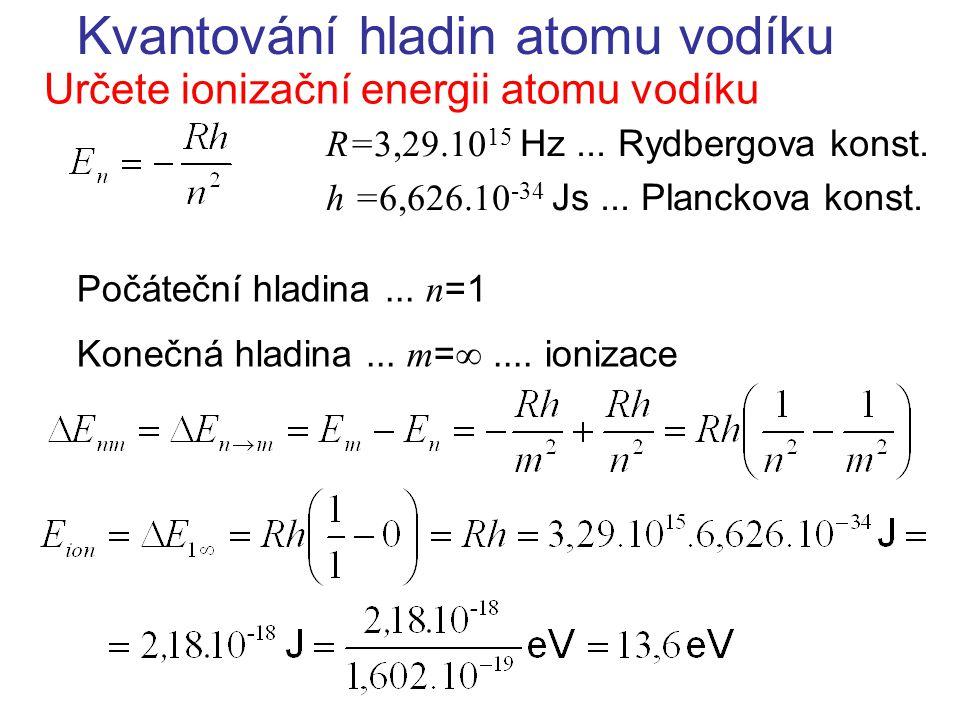 Kvantování hladin atomu vodíku Určete ionizační energii atomu vodíku R=3,29.10 15 Hz... Rydbergova konst. h =6,626.10 -34 Js... Planckova konst. Počát