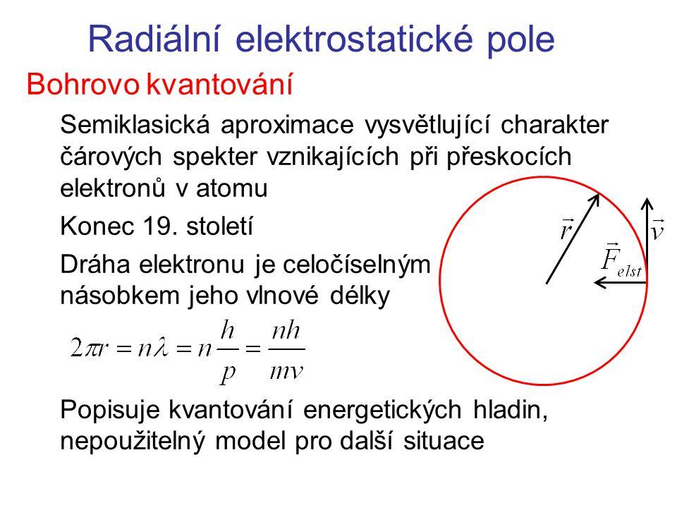 Radiální elektrostatické pole Bohrovo kvantování Semiklasická aproximace vysvětlující charakter čárových spekter vznikajících při přeskocích elektronů