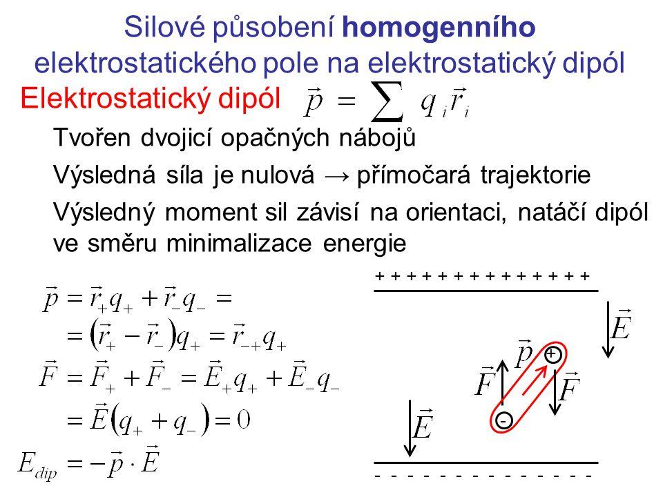 Silové působení homogenního elektrostatického pole na elektrostatický dipól Elektrostatický dipól Tvořen dvojicí opačných nábojů Výsledná síla je nulo