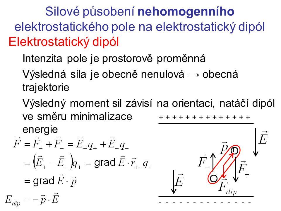 Silové působení nehomogenního elektrostatického pole na elektrostatický dipól Elektrostatický dipól Intenzita pole je prostorově proměnná Výsledná síl