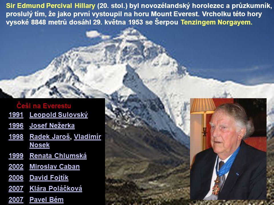 Sir Edmund Percival Hillary (20. stol.) byl novozélandský horolezec a průzkumník, proslulý tím, že jako první vystoupil na horu Mount Everest. Vrcholk
