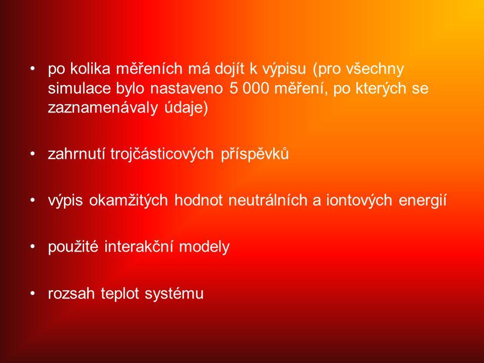 po kolika měřeních má dojít k výpisu (pro všechny simulace bylo nastaveno 5 000 měření, po kterých se zaznamenávaly údaje) zahrnutí trojčásticových příspěvků výpis okamžitých hodnot neutrálních a iontových energií použité interakční modely rozsah teplot systému