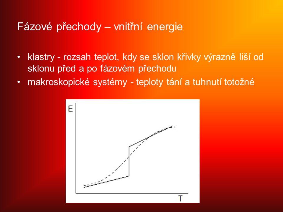 Fázové přechody – vnitřní energie klastry - rozsah teplot, kdy se sklon křivky výrazně liší od sklonu před a po fázovém přechodu makroskopické systémy - teploty tání a tuhnutí totožné