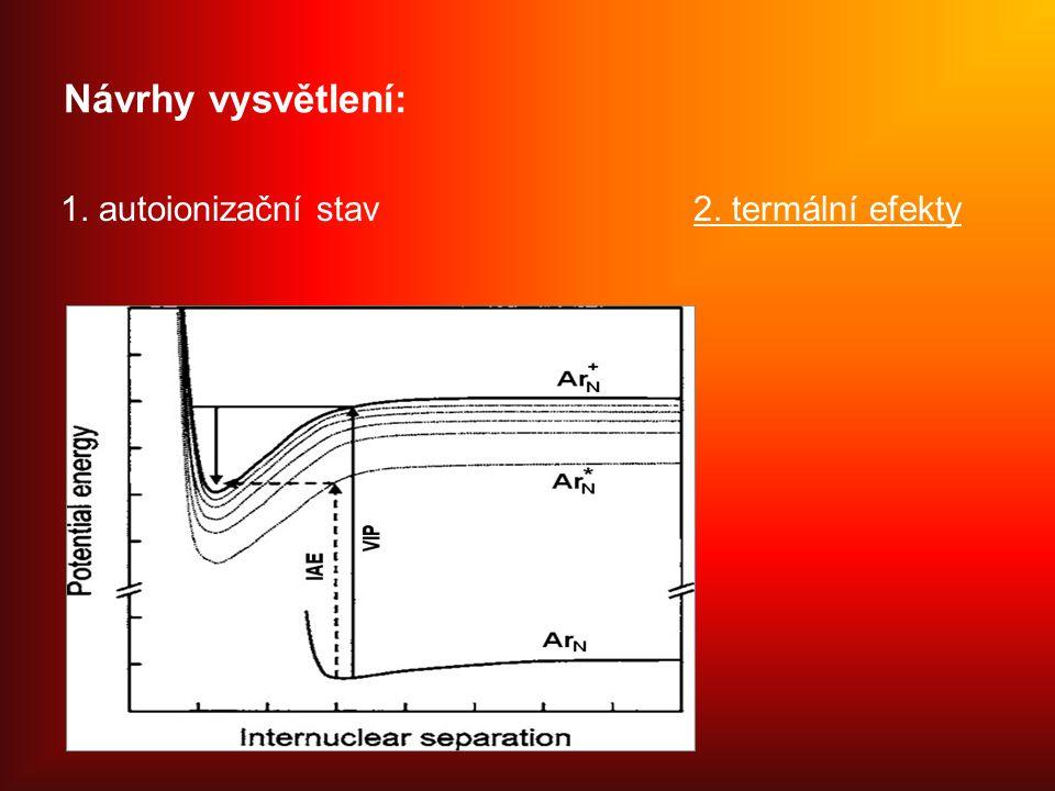 Návrhy vysvětlení: 1. autoionizační stav2. termální efekty