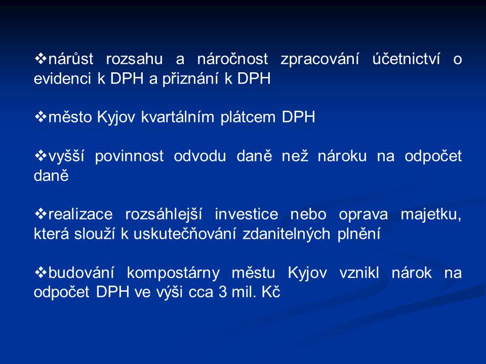  nárůst rozsahu a náročnost zpracování účetnictví o evidenci k DPH a přiznání k DPH  město Kyjov kvartálním plátcem DPH  vyšší povinnost odvodu dan