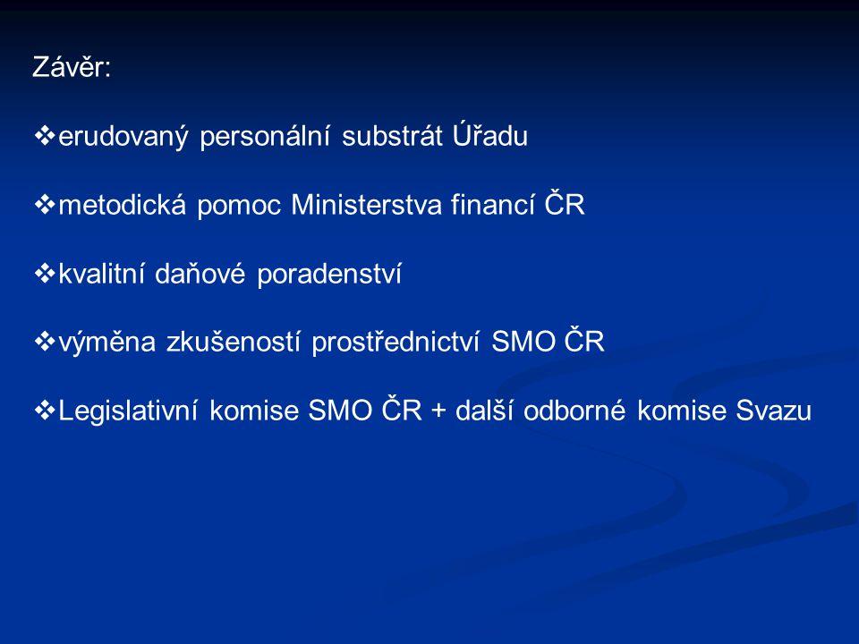 Závěr:  erudovaný personální substrát Úřadu  metodická pomoc Ministerstva financí ČR  kvalitní daňové poradenství  výměna zkušeností prostřednictv
