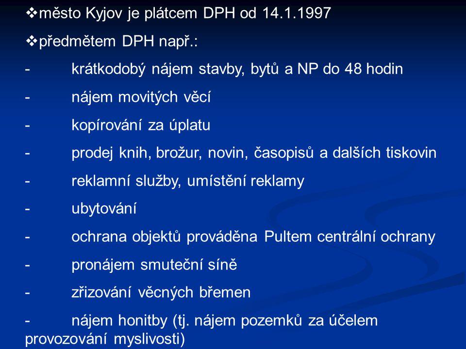  město Kyjov je plátcem DPH od 14.1.1997  předmětem DPH např.: -krátkodobý nájem stavby, bytů a NP do 48 hodin -nájem movitých věcí -kopírování za ú