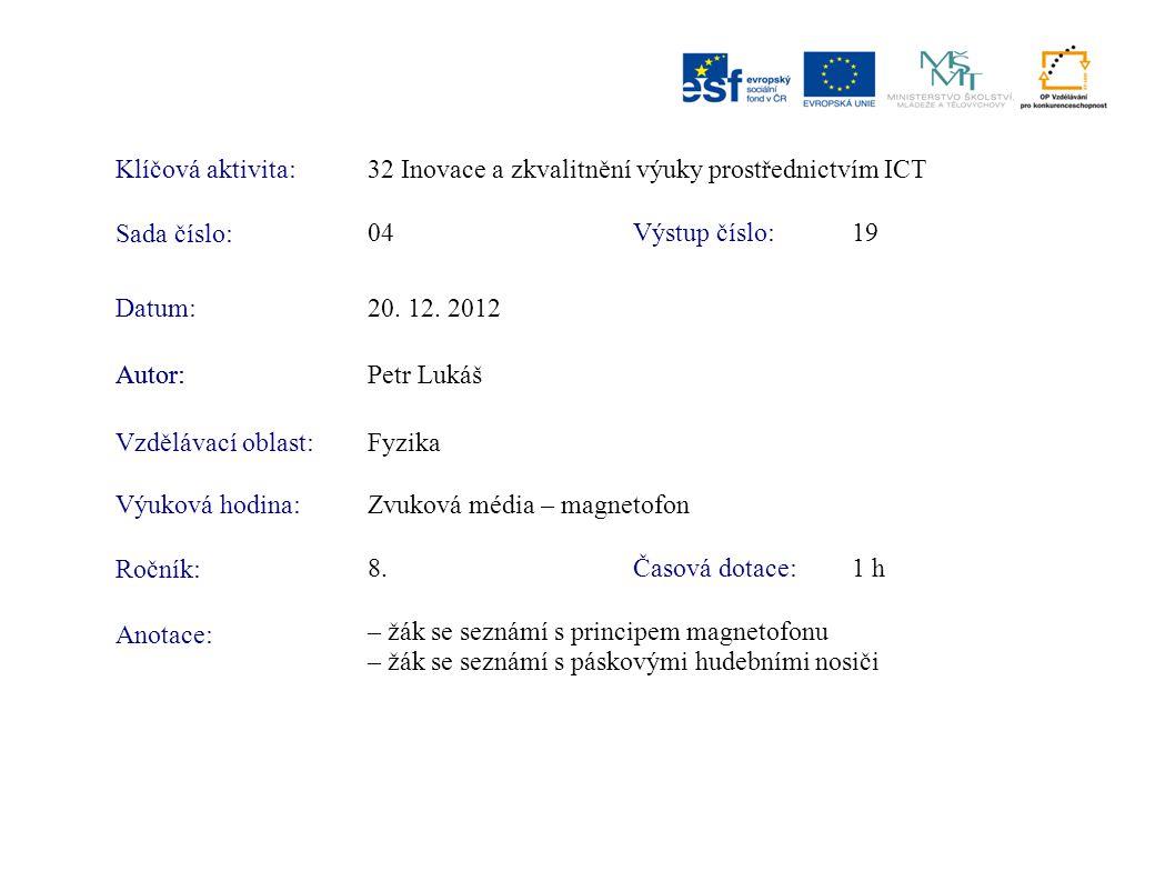 Klíčová aktivita:32 Inovace a zkvalitnění výuky prostřednictvím ICT Sada číslo: Výstup číslo:04 19 Autor:Petr Lukáš Vzdělávací oblast:Fyzika Výuková h