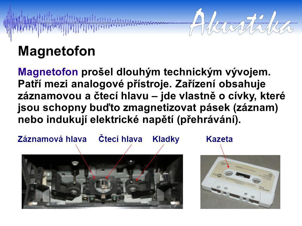 Magnetofon Magnetofon prošel dlouhým technickým vývojem. Patří mezi analogové přístroje. Zařízení obsahuje záznamovou a čtecí hlavu – jde vlastně o cí