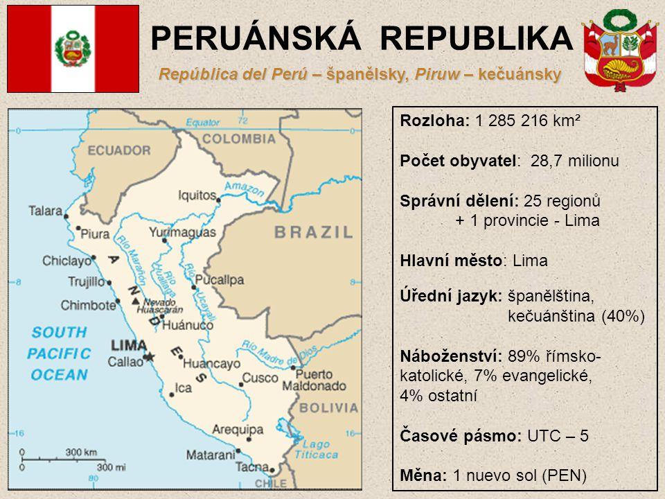 PERUÁNSKÁ REPUBLIKA República del Perú – španělsky, Piruw – kečuánsky Rozloha: 1 285 216 km² Počet obyvatel: 28,7 milionu Správní dělení: 25 regionů +