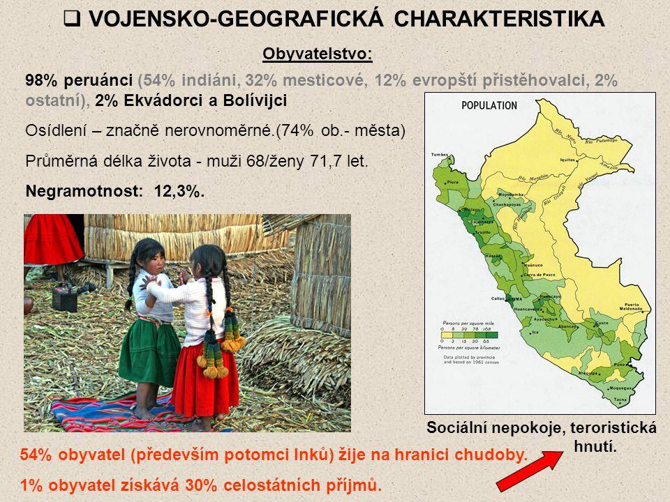  VOJENSKO-GEOGRAFICKÁ CHARAKTERISTIKA Obyvatelstvo: 98% peruánci (54% indiáni, 32% mesticové, 12% evropští přistěhovalci, 2% ostatní), 2% Ekvádorci a