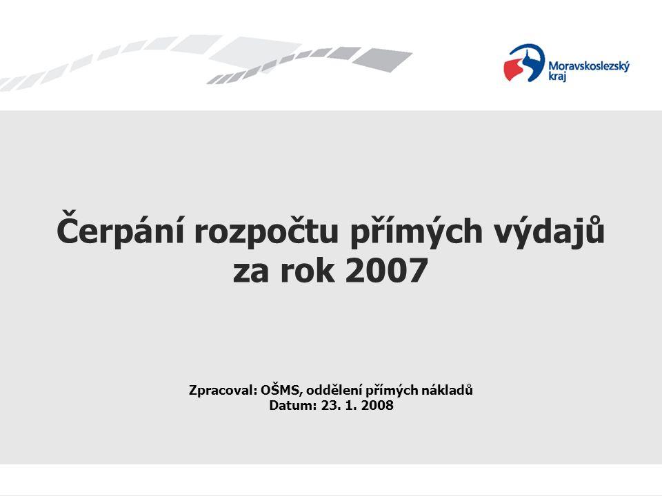 Čerpání rozpočtu přímých výdajů za rok 2007 Zpracoval: OŠMS, oddělení přímých nákladů Datum: 23.