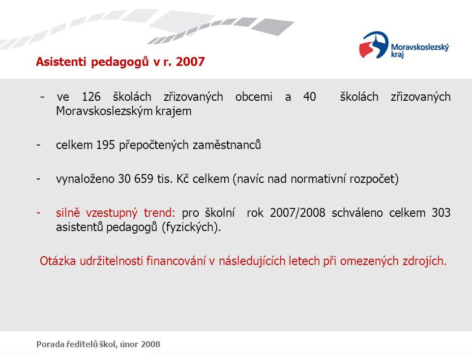 Porada ředitelů škol, únor 2008 Asistenti pedagogů v r.