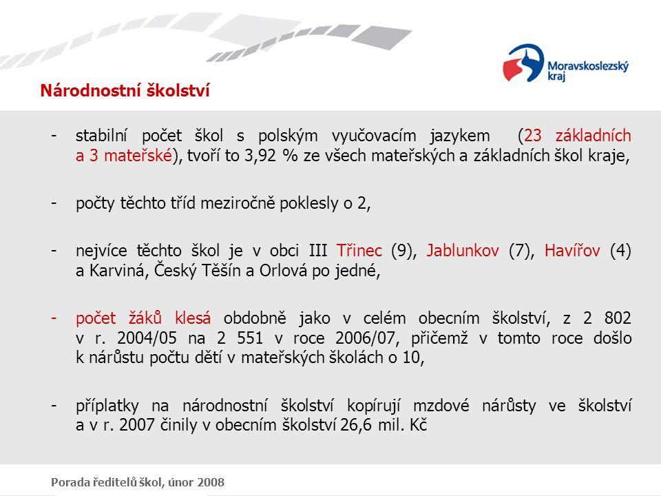 Porada ředitelů škol, únor 2008 Národnostní školství -stabilní počet škol s polským vyučovacím jazykem (23 základních a 3 mateřské), tvoří to 3,92 % ze všech mateřských a základních škol kraje, -počty těchto tříd meziročně poklesly o 2, -nejvíce těchto škol je v obci III Třinec (9), Jablunkov (7), Havířov (4) a Karviná, Český Těšín a Orlová po jedné, -počet žáků klesá obdobně jako v celém obecním školství, z 2 802 v r.