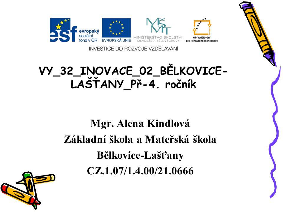 VY_32_INOVACE_02_BĚLKOVICE- LAŠŤANY_Př-4. ročník Mgr. Alena Kindlová Základní škola a Mateřská škola Bělkovice-Lašťany CZ.1.07/1.4.00/21.0666