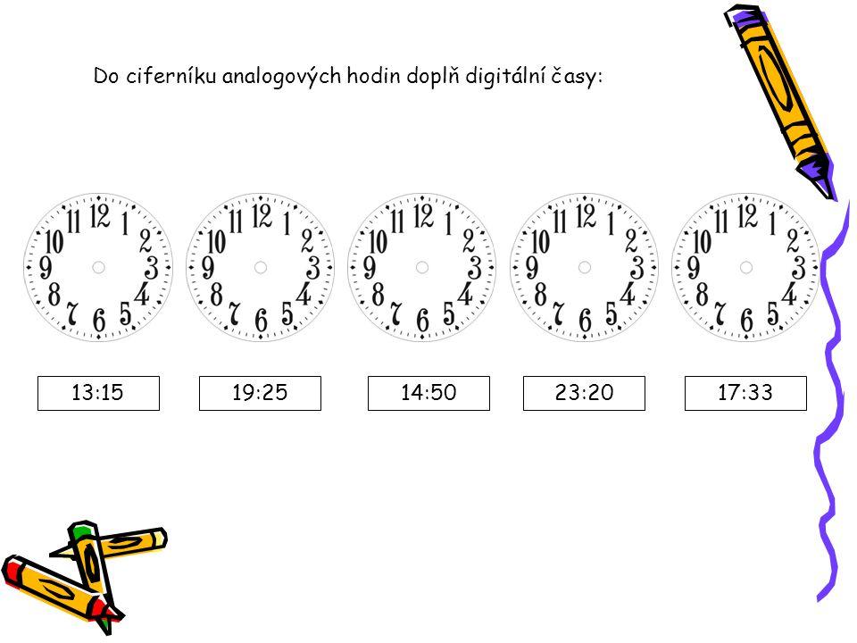 Do ciferníku analogových hodin doplň digitální časy: 13:1519:2514:5017:3323:20