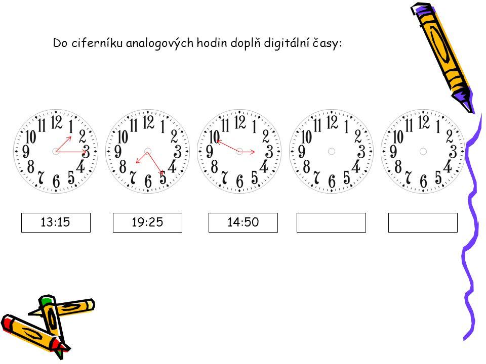Do ciferníku analogových hodin doplň digitální časy: 13:1519:2514:50