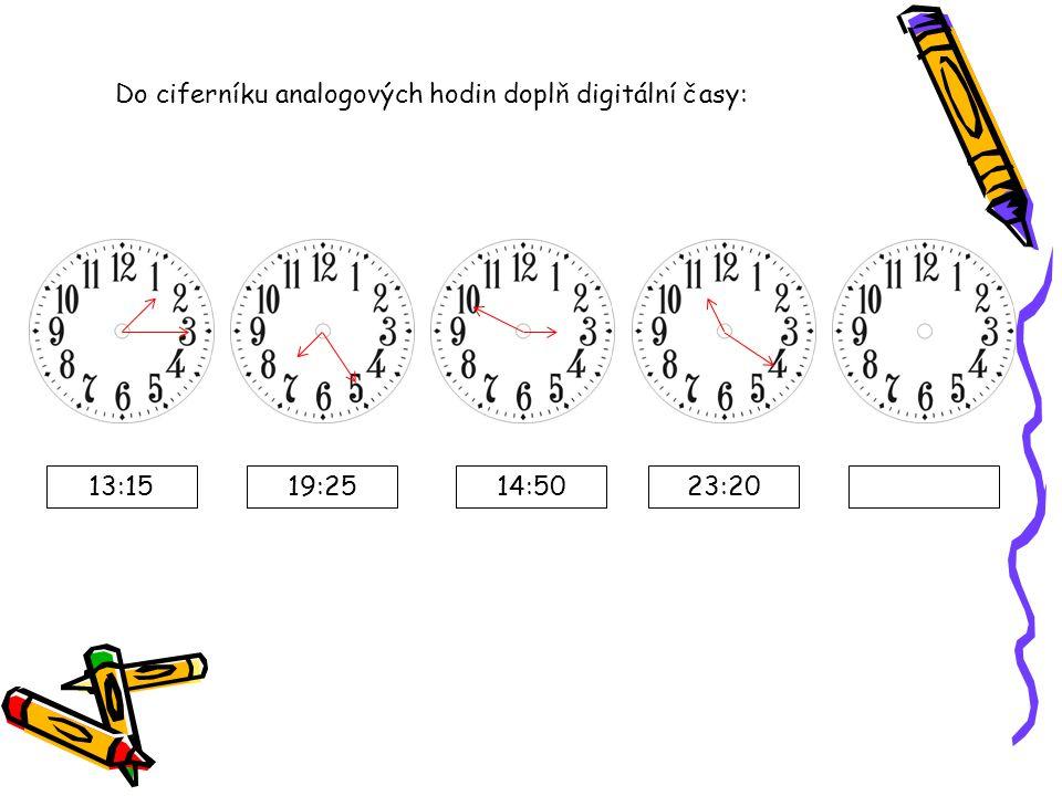 Do ciferníku analogových hodin doplň digitální časy: 13:1519:2514:5023:20