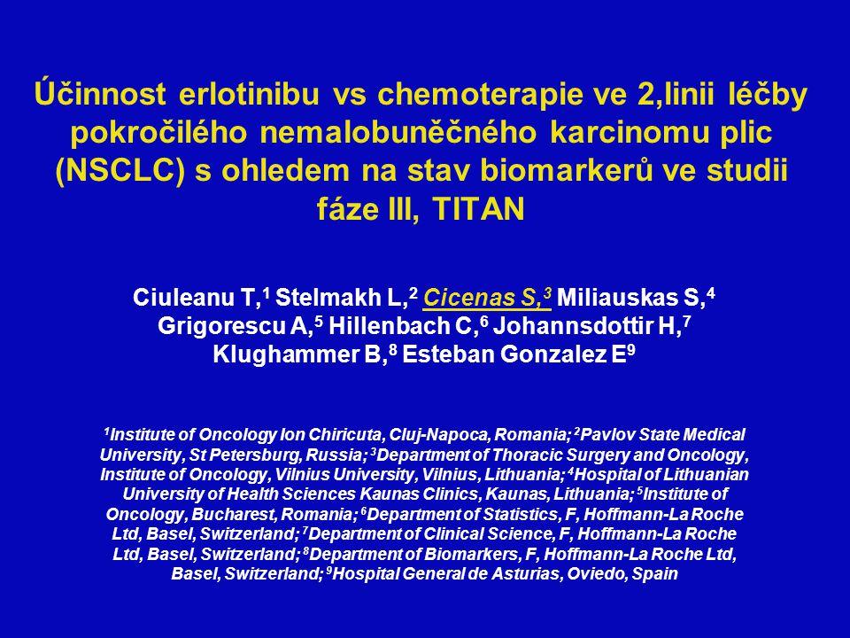 Účinnost erlotinibu vs chemoterapie ve 2,linii léčby pokročilého nemalobuněčného karcinomu plic (NSCLC) s ohledem na stav biomarkerů ve studii fáze III, TITAN Ciuleanu T, 1 Stelmakh L, 2 Cicenas S, 3 Miliauskas S, 4 Grigorescu A, 5 Hillenbach C, 6 Johannsdottir H, 7 Klughammer B, 8 Esteban Gonzalez E 9 1 Institute of Oncology Ion Chiricuta, Cluj-Napoca, Romania; 2 Pavlov State Medical University, St Petersburg, Russia; 3 Department of Thoracic Surgery and Oncology, Institute of Oncology, Vilnius University, Vilnius, Lithuania; 4 Hospital of Lithuanian University of Health Sciences Kaunas Clinics, Kaunas, Lithuania; 5 Institute of Oncology, Bucharest, Romania; 6 Department of Statistics, F, Hoffmann-La Roche Ltd, Basel, Switzerland; 7 Department of Clinical Science, F, Hoffmann-La Roche Ltd, Basel, Switzerland; 8 Department of Biomarkers, F, Hoffmann-La Roche Ltd, Basel, Switzerland; 9 Hospital General de Asturias, Oviedo, Spain