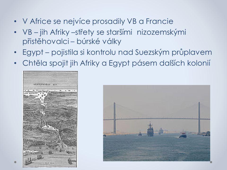 V Africe se nejvíce prosadily VB a Francie VB – jih Afriky –střety se staršími nizozemskými přistěhovalci – búrské války Egypt – pojistila si kontrolu