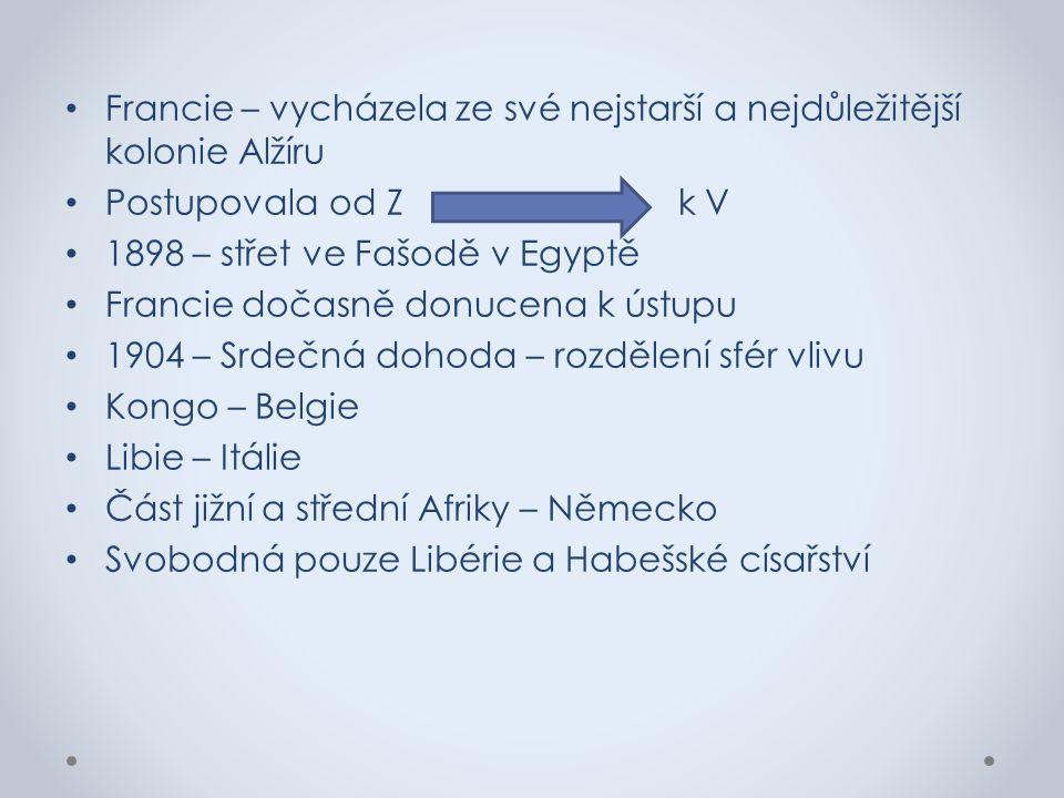 Francie – vycházela ze své nejstarší a nejdůležitější kolonie Alžíru Postupovala od Z k V 1898 – střet ve Fašodě v Egyptě Francie dočasně donucena k ú